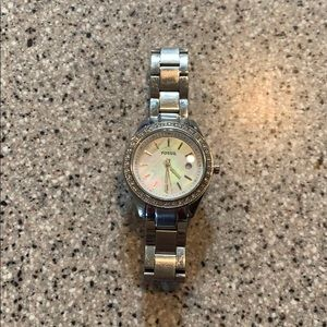 Silver with Mother of Pearl Fossil watch